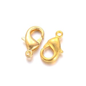 Gold Brass 8mm x 15mm Lobster Clasps Pack Of 15 Y11375