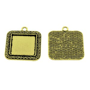 Antique Bronze Metal Alloy 29.5mm x 34mm Square Cabochon Settings Pack Of 5 Y11445
