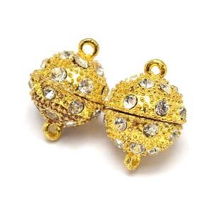 Gold Brass & Rhinestone 12mm x 18.5mm Round Magnetic Clasps Pack Of 2 Y11515