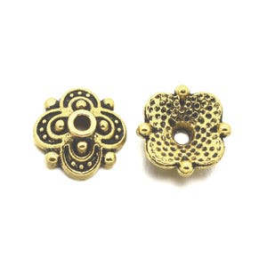 Antique Gold Metal Alloy 8mm Flower Bead Caps Pack Of 20 Y11590