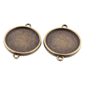 Antique Bronze Metal Alloy 23mm x 29mm Round Cabochon Settings Pack Of 20 Y11680