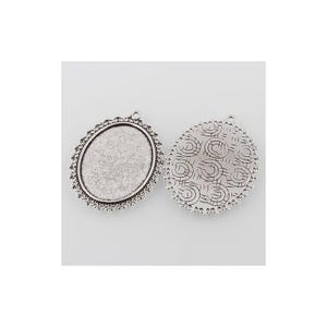 Antique Silver Metal Alloy 40mm x 53.5mm Oval Cabochon Settings Pack Of 5 Y11695