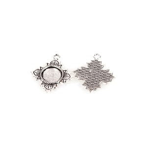 Antique Silver Metal Alloy 26mm x 30mm Flower Cabochon Settings Pack Of 10 Y11730