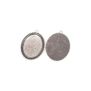 Antique Silver Metal Alloy 37mm x 50.5mm Oval Cabochon Settings Pack Of 6 Y11745