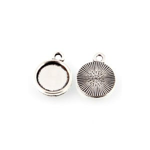 Antique Silver Metal Alloy 11mm x 14mm Round Cabochon Settings Pack Of 30 Y11760