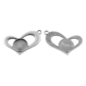 Antique Silver Metal Alloy 26.5mm x 42mm Heart Cabochon Settings Pack Of 5 Y11770