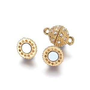 Gold Brass & Rhinestone 10mm x 16mm Round Magnetic Clasps Pack Of 2 Y11785