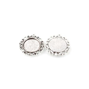 Antique Silver Metal Alloy 39mm Round Cabochon Settings Pack Of 5 Y11805