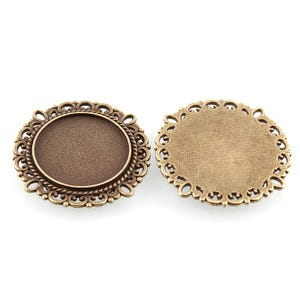 Antique Bronze Metal Alloy 30.5mm Round Cabochon Settings Pack Of 10 Y11815
