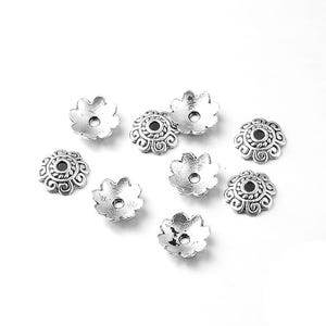 Antique Silver Metal Alloy 2mm x 8mm Flower Bead Caps Pack Of 100+ Y11860