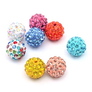 Mixed-Colour Rhinestone Polymer Clay Disco Ball Beads 10mm Pack Of 10 Y12020