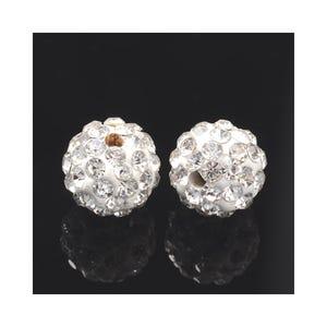 Silver Rhinestone Polymer Clay Disco Ball Beads 10mm Pack Of 10 Y12045