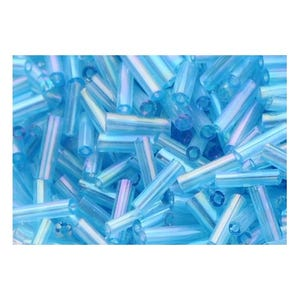 Blue AB Glass Bugle Seed Beads 5-9mm x 1.8mm Pack Of 2200+ Y12060