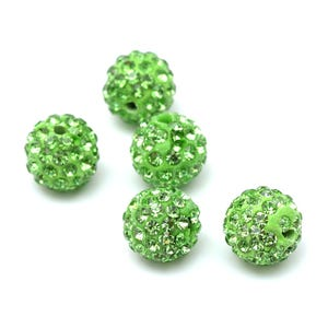 Lime Green Rhinestone Polymer Clay Disco Ball Beads 10mm Pack Of 10 Y12065