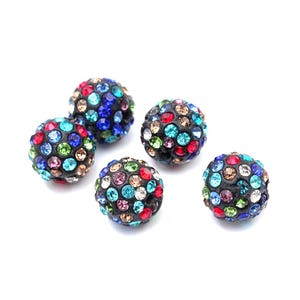 Mixed-Colour/Black Rhinestone Polymer Clay Disco Ball Beads 10mm Pack Of 10 Y12085