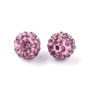 Lilac/Magenta Rhinestone Polymer Clay Disco Ball Beads 10mm Pack Of 10 Y12110