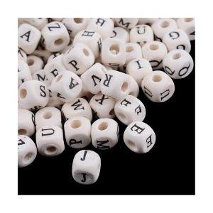 Cream/Black Alphabet Wood Cube Beads 8mm x 8mm Pack Of 60+ Y12140