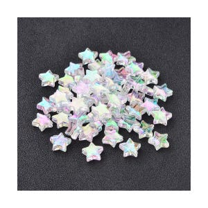 Clear AB Acrylic Star Beads 10mm Pack Of 100+ Y12145