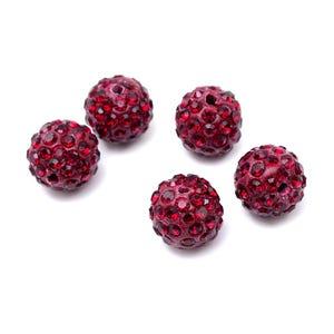 Burgundy Rhinestone Polymer Clay Disco Ball Beads 10mm Pack Of 10 Y12155