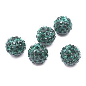 Dark Green/Black Rhinestone Polymer Clay Disco Ball Beads 10mm Pack Of 10 Y12160