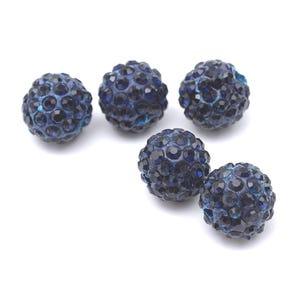 Teal Blue/Black Rhinestone Polymer Clay Disco Ball Beads 10mm Pack Of 10 Y12165
