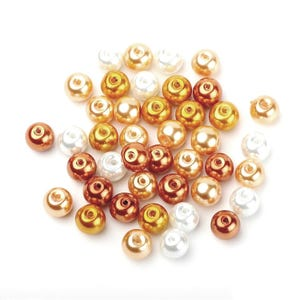 Gold/White Pearlised Acrylic Plain Round Beads 8mm Pack Of 100 Y12190