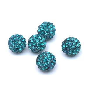 Teal Blue Rhinestone Polymer Clay Disco Ball Beads 10mm Pack Of 10 Y12200