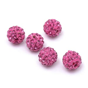 Pale Pink Rhinestone Polymer Clay Disco Ball Beads 10mm Pack Of 10 Y12210