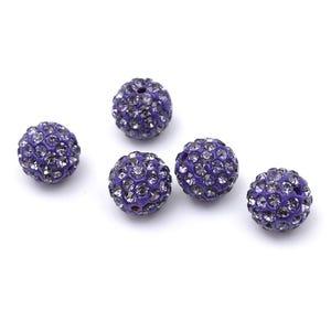 Purple/Silver Rhinestone Polymer Clay Disco Ball Beads 10mm Pack Of 10 Y12255