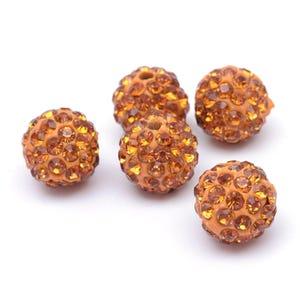 Orange/Gold Rhinestone Polymer Clay Disco Ball Beads 10mm Pack Of 10 Y12310