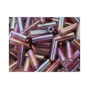 Violet AB Glass Bugle Seed Beads 5-9mm x 1.8mm Pack Of 2200+ Y12370
