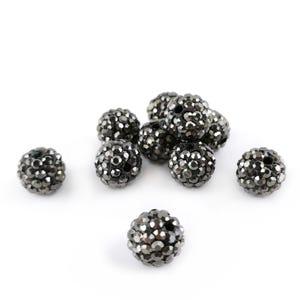 Dark Grey Rhinestone Polymer Clay Disco Ball Beads 10mm Pack Of 10 Y12395