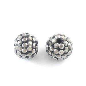 Black/Dark Silver Rhinestone Polymer Clay Disco Ball Beads 12mm Pack Of 10 Y12445