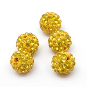 Yellow Rhinestone Polymer Clay Disco Ball Beads 10mm Pack Of 10 Y12490