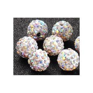 Silver Rhinestone Polymer Clay Disco Ball Beads 10mm Pack Of 10 Y12495