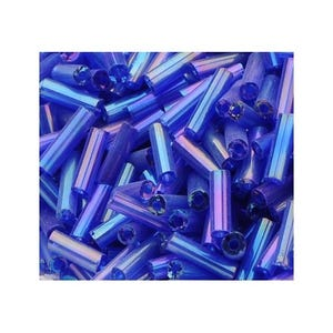 Blue/Purple AB Glass Bugle Seed Beads 5-9mm x 1.8mm Pack Of 2200+ Y12505