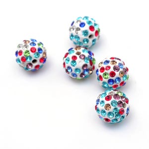 Mixed-Colour/White Rhinestone Polymer Clay Disco Ball Beads 12mm Pack Of 10 Y12515