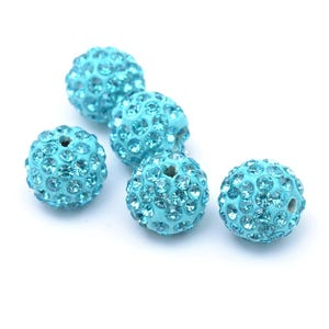 Cyan Rhinestone Polymer Clay Disco Ball Beads 10mm Pack Of 10 Y12555
