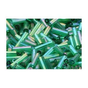 Dark Green AB Glass Bugle Seed Beads 5-9mm x 1.8mm Pack Of 2200+ Y12560