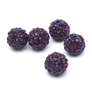 Dark Purple/Black Rhinestone Polymer Clay Disco Ball Beads 10mm Pack Of 10 Y12570