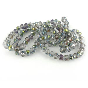 Clear/Rainbow AB Glass Faceted Rondelle Beads 6mm x 8mm 2 Strands Of 70+ Pieces Y12625
