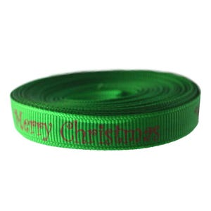 Green/Red Grosgrain Merry Christmas Ribbon 3M Continuous Length 10mm Wide Y12810