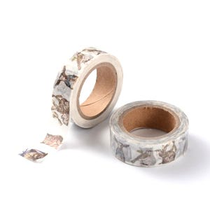 Brown/White Adhesive Animal Washi Tape 10M Roll 15mm Wide Y12935