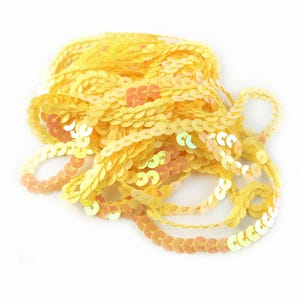 Dull Yellow Acrylic Flat AB Sequin Trim 5M Continuous Length 6mm Wide Y12960