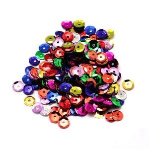 Mixed-Colour Cupped Acrylic Loose Sequins 6-7mm Pack Of 30g Y12965