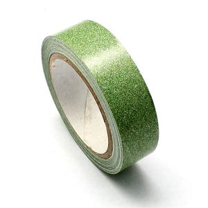 Green Adhesive Glitter Washi Tape 4M Roll 15mm Wide Y12975