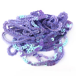 Lilac Acrylic Flat AB Sequin Trim 5M Continuous Length 6mm Wide Y12980