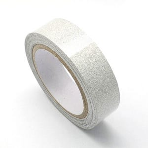 Silver Adhesive Glitter Washi Tape 4M Roll 15mm Wide Y12985