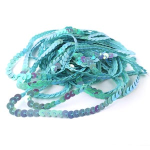 Turquoise/Lilac Acrylic Flat AB Sequin Trim 5M Continuous Length 6mm Wide Y13000