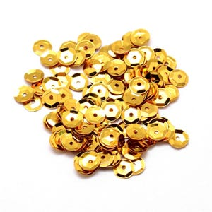 Gold Cupped Acrylic Loose Sequins 6-7mm Pack Of 30g Y13005